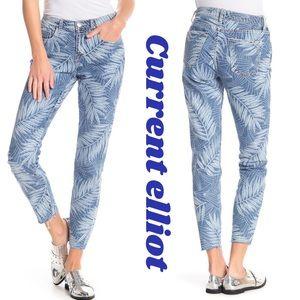 CURRENT ELLIOT 💙The Stiletto Leaf Print Jeans
